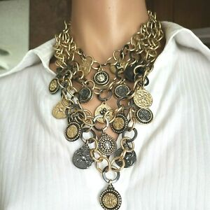 """Chico's Gold Pewter Tone Coins Charms Multi Strands Chain Necklace 26""""L"""