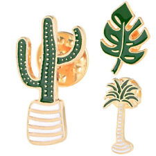 3X/Set Enamel Plant Potted Cactus Collar Brooch Pin Badge Clothing Cartoon PinFR