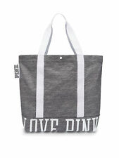 Victoria's Secret PINK Washed Canvas Tote Bag Grey Snap Closure NEW