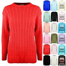 Womens Ladies Chunky Knit Cable Knitted Round Neck Oversized Baggy Jumper Top
