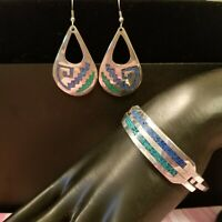 Mexico Alpaca Silver Hook Bracelet & Earrings Turquoise Chips Vintage Geometric