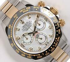 Rolex Daytona 116523 Two Tone 18k/SS Watch-White MOP Diamond Dial-Black Ceramic