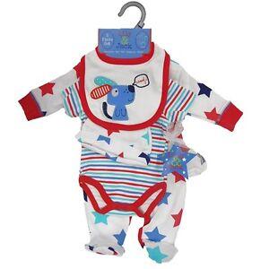 5tlg Baby Set Strampler Body Mütze Lätzchen Kratzfäustlinge Kombiset Sterne Hund