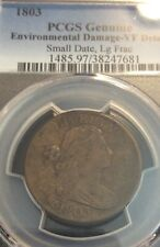 1803 1C Large Cent Pcgs Vf details, small date, large fraction, few marks,