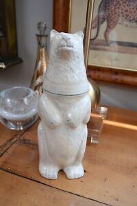 "Rare Vintage Pottery Barn White Polar Bear Cocktail Shaker Tall Figurine 11""T"