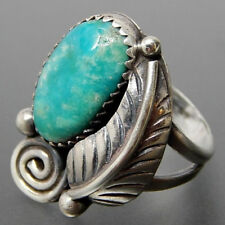 Unisex Turquoise Feather Antique Silver Ring Wedding Engagement Ring Lover Gift
