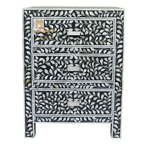 Mother of pearl inlay floral 3 drawer bedside black home décor with insurance