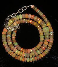"""60 Crts 4 to 6.5 mm 16"""" Faceted Beads necklace Ethiopian Welo Fire Opal 94611"""