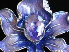 "LAVENDER PURPLE RHINESTONE ROSE LILY IRIS ORCHID FLOWER PIN BROOCH JEWELRY 2"" 3D"