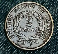 1864 Two Cent Piece 2C FULL MOTTO Civil War Era Good Date US Copper Coin CC4757