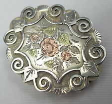 Antique Victorian Aesthetic Movement English Sterling Silver & Gold Locket 1896