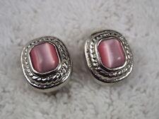 Silvertone Pink Cat's Eye Glass Cabochon Clip-on Earrings (D77)