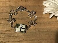 Recycled Broken Porcelain Jewelry, Asian Floral Bracelet w/ Metal (SIZABLE)
