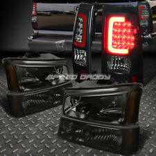 SMOKED HEADLIGHT+AMBER SIGNAL+TINTED 3D OPTIC LED TAIL LIGHT FOR 03-07 SILVERADO