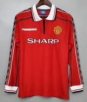 Man United 1998 99 Beckham 7 Home Retro Soccer Jersey Football Shirt