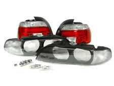 97-00 BMW E39 Clear Lens Headlight Frame +Tail Lights +Side Marker +Chrome Bulbs