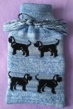 More details for labradoodle dog on new knitted blue hot water bottle with cover