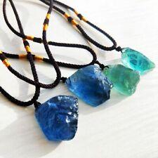 Crystal Jewelry Reiki Fluorite Pendant Necklace Natural Quartz Stone Healing~