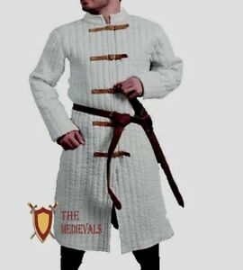 Medieval Gambeson Armor White Quilted Costumes Renaissance jacket Knight LARP