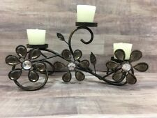 Metal Candle Holder Multi 3 Votive Tealight Scroll Table Home Decor Flower Motif