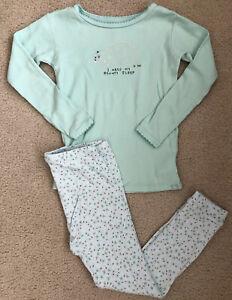 BABY GAP 5T girls Green Floral Porcupine Cotton long sleeve & pants pajamas set