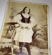 Antique Victorian Costume Girl, Hair, Star Studio! New York City! Cabinet Photo!
