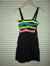 Bobbie Brooks Girls Black Neon Ruffle Romper Size M 7/8 New-Pockets