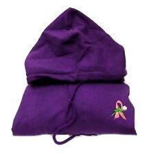 Pink Ribbon Sweatshirt Medium White Rose Purple Breast Cancer Hoodie Unisex New