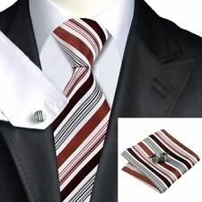 Mens White Red  Black Stripes Tie+Hanky & Cufflinks Matching Set 86