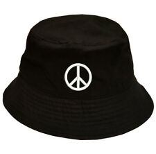 Peace Freedom symbol 100% Cotton Bucket Cap Hat Black OSFM