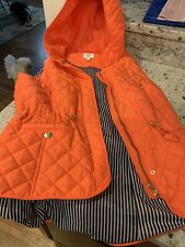 Crown & Ivy Womens Orange Quilted Zip Front Vest Size Medium Hooded