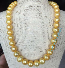 "New South sea Baroque 12-13mm AAA Yellow Pearl Necklace 18"" 14K Gold Clasp"