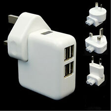 4 USB Ports Multiple Power Adapter AC Charger Travel Wall UK Plug White