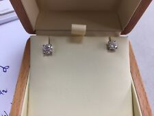 1.54 Carat Round Diamond Stud Earrings, in 18 k  White Gold