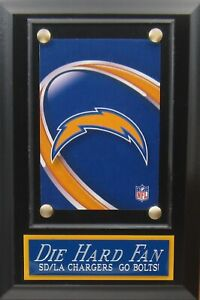 DIE HARD FAN LOS ANGELES CHARGERS LOGO CARD PLAQUE FOR YOUR MAN CAVE WALL DECOR