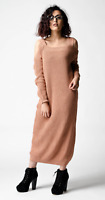 ex ASOS Pink/Nude Oversize Knitted Midi Dress with Cold Shoulder RRP£32 Szs 4-18