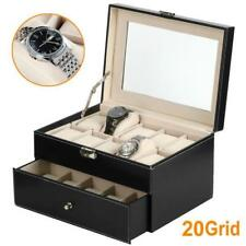 Watch Box 20 Slot Mens Black Leather Display Glass Top Jewelry Case Organizer