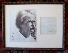 *MARK TWAIN RARE FRAMED DOUBLE SIGNED AUTOGRAPH LETTER & PORTRAIT*