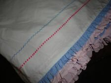 """Pottery Barn Kids Pink Blue Embroidered Ruffled Bedskirt Twin Bedskirt 13"""""""