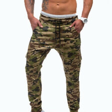 Mens Skinny Jogging Bottoms Slim Fit Army Camo Joggers Camouflage Sweat Pants