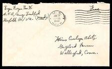 1944 WAR COVER -  FREE SOLDIER POSTAGE -  U.S. NAVY POSTMARK (ESP#3295)