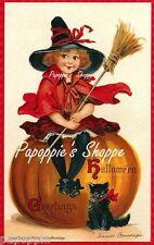 Fabric Block Halloween Vintage Postcard Image Frances Brundage Pumpkin Cat