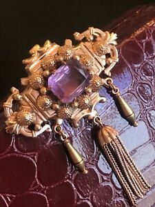 Estate Victorian emerald cut Amethyst pin brooch - tassels Rare