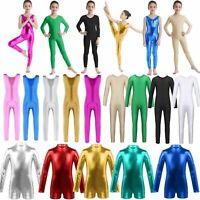 Girls Gymnastics Ballet Full Body Suit Dance Leotards Shiny Dancewear Costume