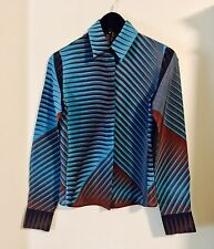 Gucci, Italy Women's 100% Silk Turquoise Geometric Print Shirt Signed Gucci XS/S