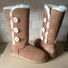 UGG BAILEY BUTTON TRIPLET TRIPLE II 2.0 CHESTNUT SUEDE BOOTS SIZE US 7 WOMENS