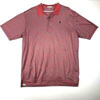 Peter Millar Golf Polo Shirt Mens XL Coral Pink Blue Stripe Patch Short Sleeve