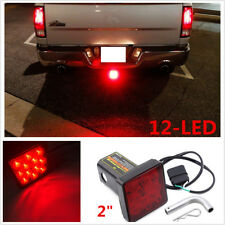 "Red Lens 2"" Trailer Hitch Receiver Cover Car Truck 12LED Brake Leds Light w/ Pin"