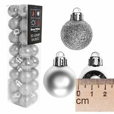 Snow White Christmas Tree Multi Finish Baubles - 32 Pack 25mm - Silver