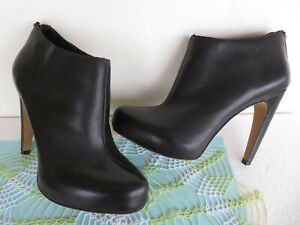 Sam Edelman KEATON ~ Black Leather Heeled Ankle Boots Booties Size 7M ~ Back-Zip